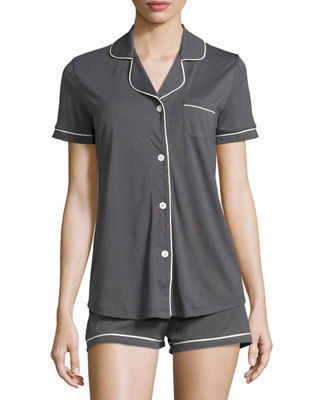 Image 1 of 2: Bella Short-Sleeve Boxer Pajama Set