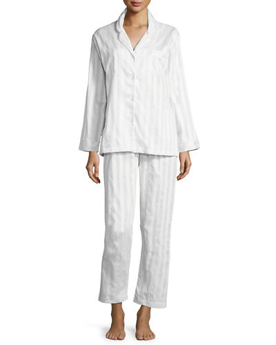 Tina Shadow-Stripe Long-Sleeve Long Pajama Set