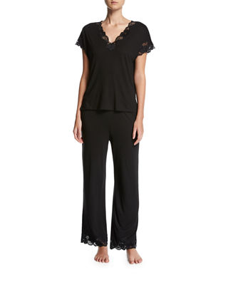 Image 1 of 2: Zen Floral-Trim Pajamas, Plus Size