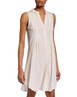 Button-Front Sleeveless Nightgown
