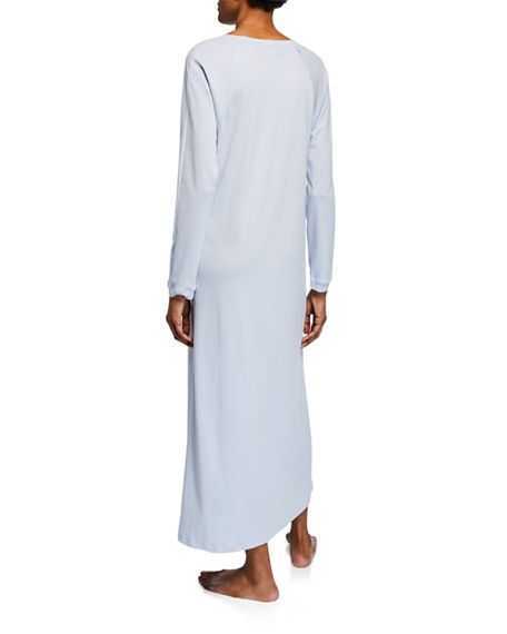 Image 2 of 2: Hanro Pure Essence Long-Sleeve Long Nightgown