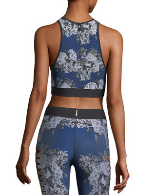 Image 3 of 5: Altitude High-Neck Floral-Print Crop Sports Bra