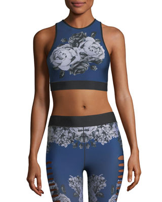 Image 1 of 5: Altitude High-Neck Floral-Print Crop Sports Bra