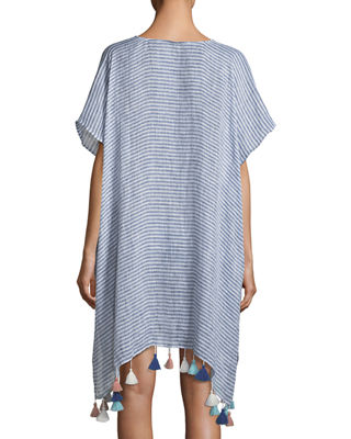 Image 2 of 2: V-Neck Striped Linen Kaftan with Tassels, One Size