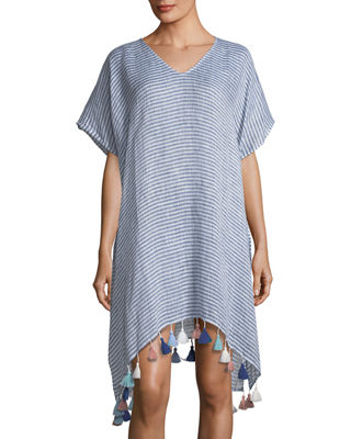 Seafolly V-Neck Striped Linen Kaftan with Tassels, One
