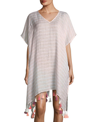 V-Neck Striped Linen Kaftan with Tassels, One Size