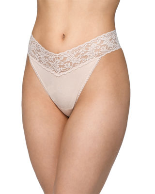 Original-Rise Organic Cotton Lace-Trim Thong