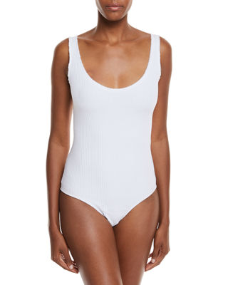 Ribbed Scoop-Neck Bodysuit