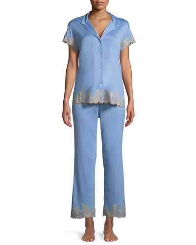 Charlize Lace-Trim Pajama Set