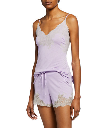 Shangri-La Two-Piece Lace-Trim Shortie Pajama Set