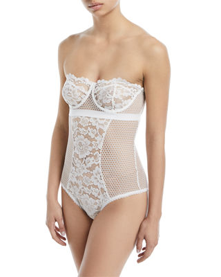 ELSE Petunia Strapless Underwire Corsette Bodysuit in Ivory