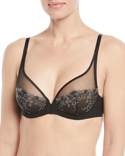 Delice Two-Part Full-Cup Sheer Plunge Bra