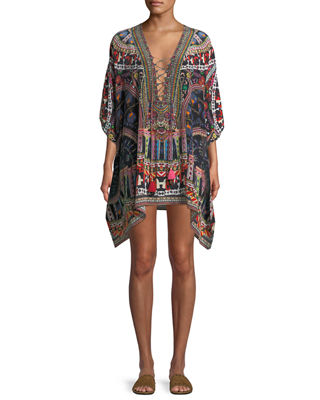 Camilla Lace-Up Printed Silk Kaftan, One Size