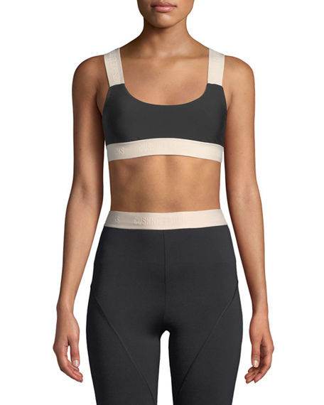 Cushnie Et Ochs CECILE SCOOP-NECK PERFORMANCE SPORTS BRA WITH LOGO WEB