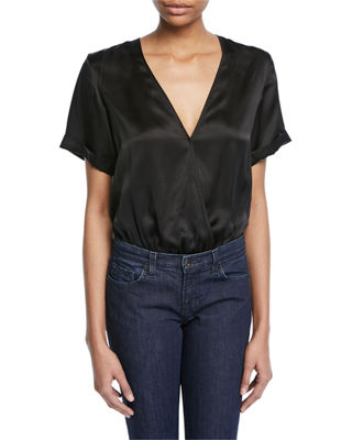 Cami NYC The Amy Surplice Silk Charmeuse Bodysuit