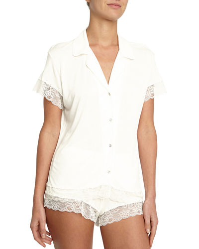 Malou Lace-Trim Short Pajama Set