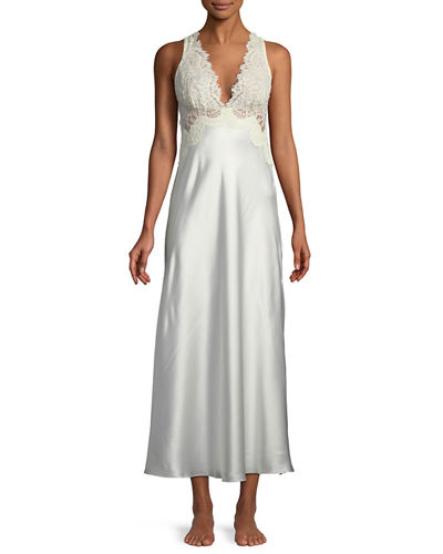 Christine Designs Beloved Lace-Trim Long Nightgown