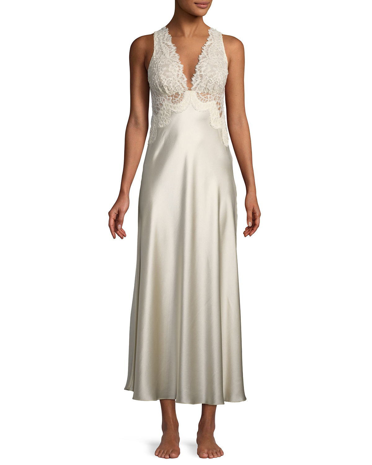 Christine Designs Beloved Lace-Trim Long Nightgown | Neiman Marcus