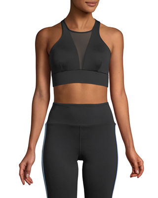 MICHI Inversion High-Neck Mesh Sports Bra in Black