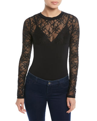 Kendall + Kylie Long-Sleeve Lace Thong Bodysuit