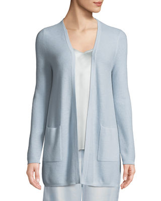 Neiman Marcus Cashmere Collection Cashmere Waffle-Knit Open-Front