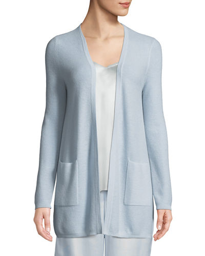Cashmere Waffle-Knit Open-Front Cardigan