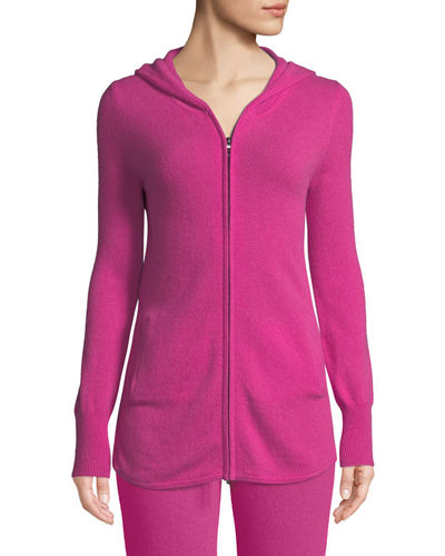 Cashmere Zip-Front Lounge Hoodie