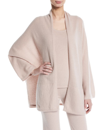 Cashmere Dolman-Sleeve Open-Front Cardigan