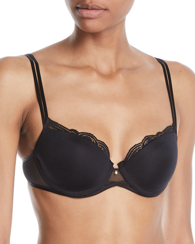 Chantelle Pyramide Lace-Trim Smooth Demi Bra and Matching