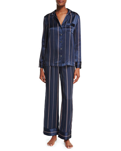 Two-Piece Print Silk Pajama Set