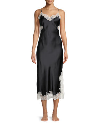 Image 1 of 2: Camilla Lace-Inset Silk Nightgown