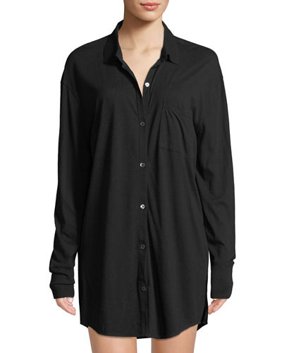 Kiana Button-Front Organic Cotton Sleepshirt