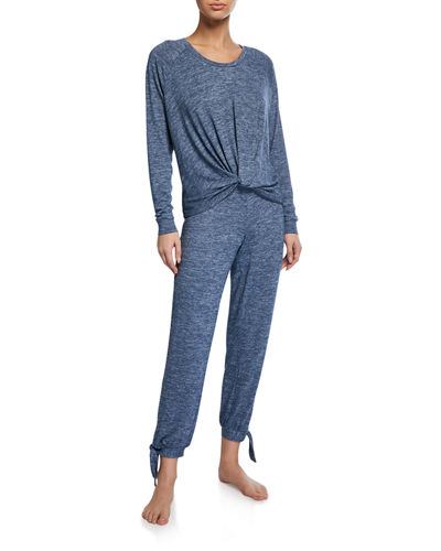 Fallon Knotted-Jersey Pajama Set