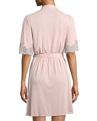 Natori Enchant Lace-Trim Short Robe
