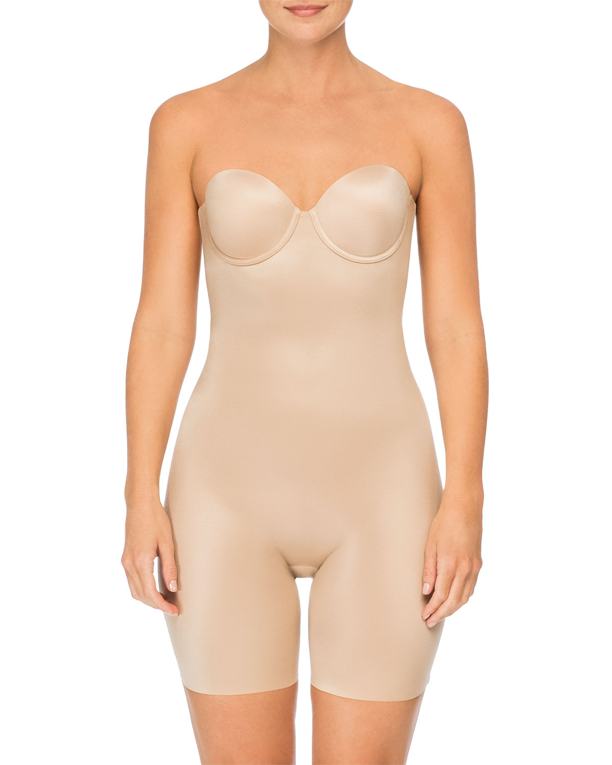 Strapless Cupped Mid-Thigh Shaping Bodysuit