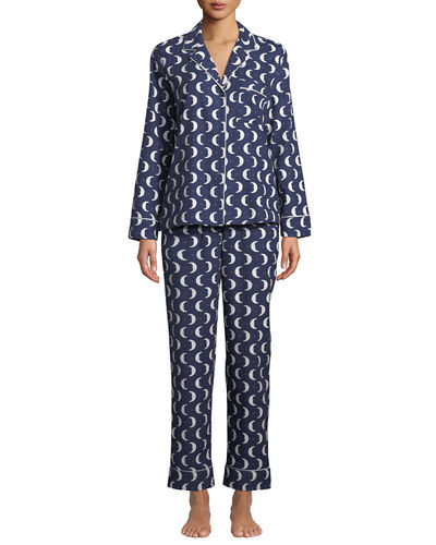 striped brushed twill classic pajama set