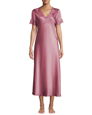 VIVIS Krizia Lace-Trim Silk Nightgown in Pink