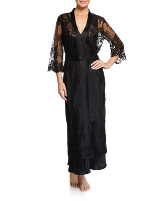 VIVIS Jamaica Long Lace Robe in Black