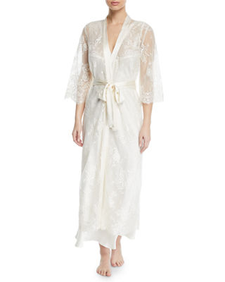 VIVIS Jamaica Long Lace Robe in White