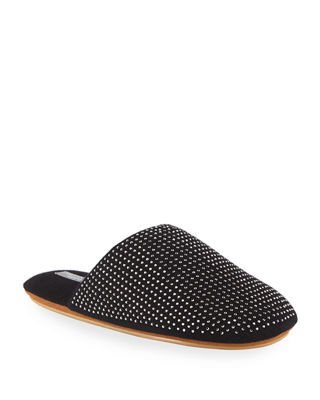 Cashmere Rhinestone-Studded Mule Slippers in Black