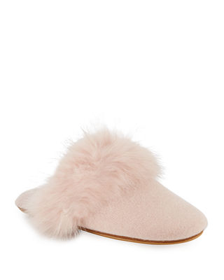 Cashmere Fox Fur-Trim Mule Slippers in Crme Brulee