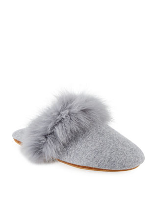 Cashmere Fox Fur-Trim Mule Slippers in Soft Charcoal Gre