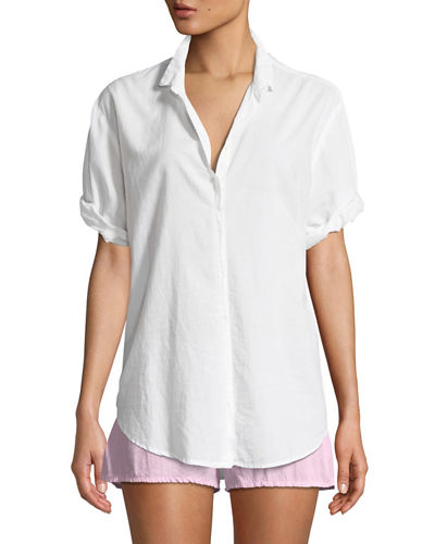 Channing Poplin Short-Sleeve Pajama Shirt