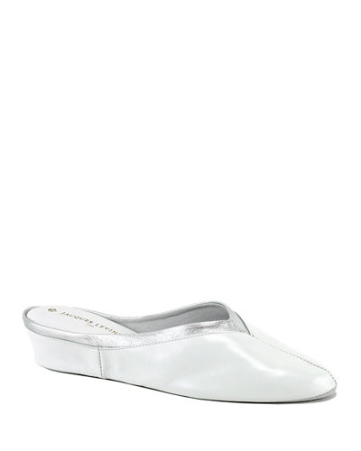Metallic Leather Wedge Mule Slippers