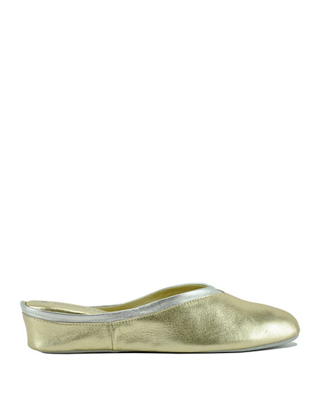 Image 2 of 4: Jacques Levine Metallic Leather Wedge Mule Slippers