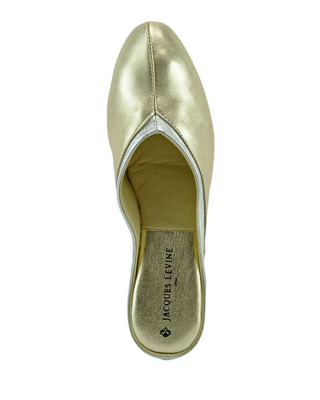 Image 3 of 4: Jacques Levine Metallic Leather Wedge Mule Slippers