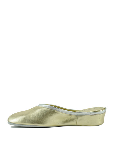 Image 4 of 4: Jacques Levine Metallic Leather Wedge Mule Slippers