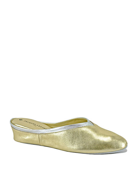 Image 1 of 4: Jacques Levine Metallic Leather Wedge Mule Slippers