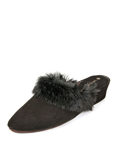 Suede Wedge Mule Slippers w/ Fur Trim