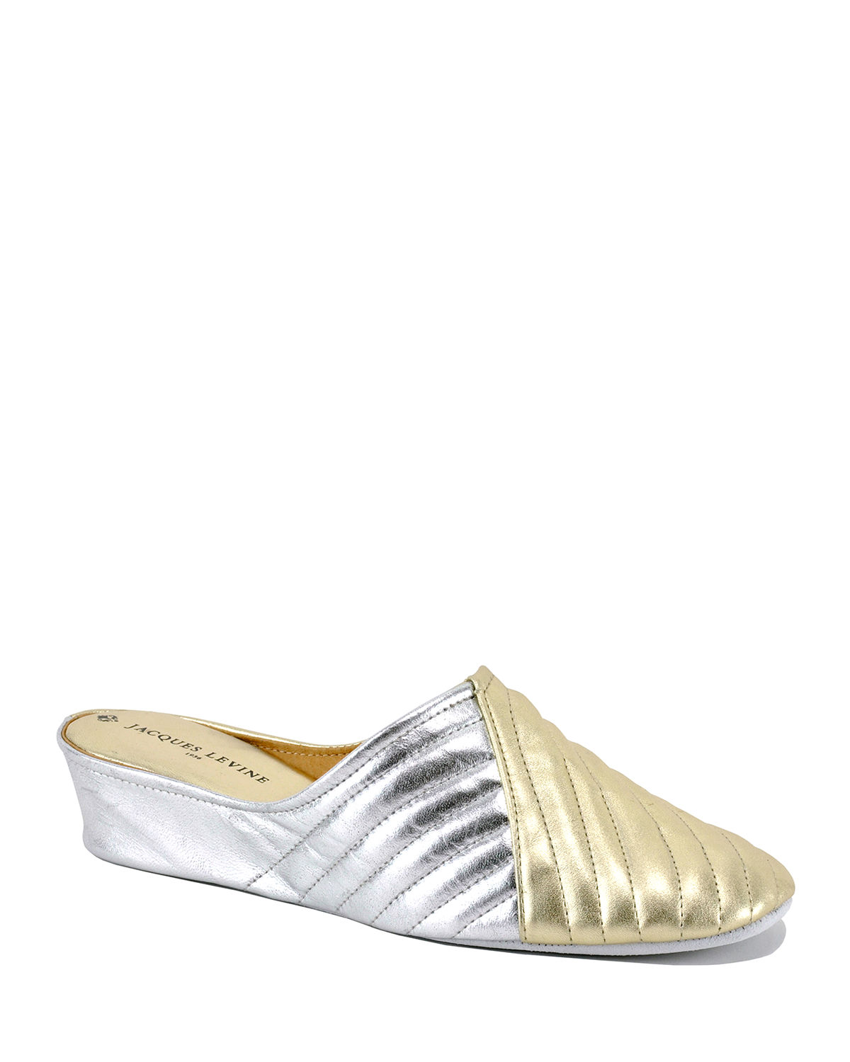 Two-Tone Metallic Quilted Slippers